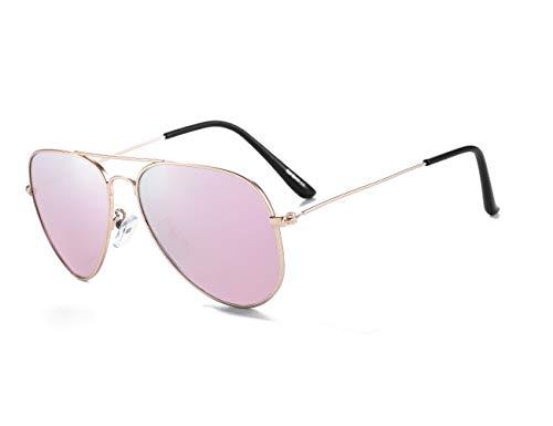 Gafas de Sol Aviador Para Niños y Niñas Marco Metal de Cat.3 UV Protection con Estuche (Dorado/Rosa)