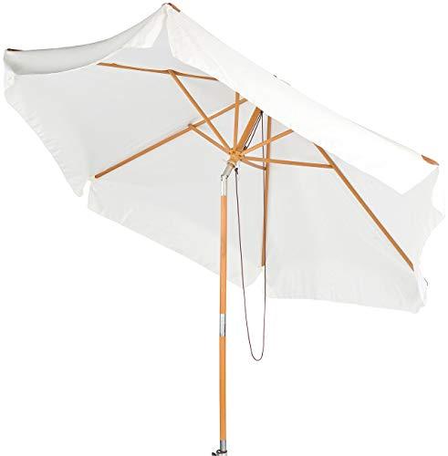 Royal Gardineer Gartenschirm: Neigbarer Sonnenschirm mit Holzgestell, UV-Schutz 50+, Ø 3 m, beige (Holzsonnenschirm)