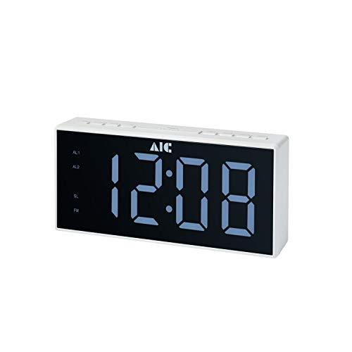 AIC Radiowecker mit gut ablesbarem 8cm XXL Display dimmbar 2 Weckzeiten 48 Weiss