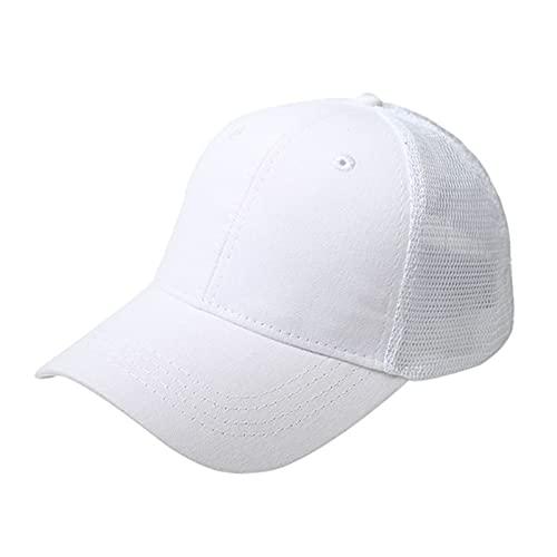 UKKD Gorra De Béisbol Cola De Caballo Gorra De Béisbol Mujer Snapback Verano Malla Sombrero Femenino Moda Hip Hop Hats Casual Al Aire Libre-Net Hat Cotton White,1