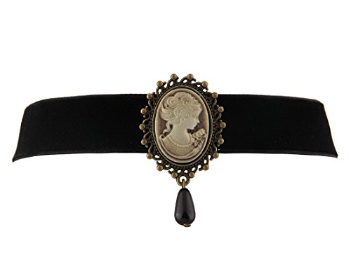 WUSUANED Fashion Retro Black Victorian Cameo Pearl Bead Velvet Choker Necklace (Relief Necklace)