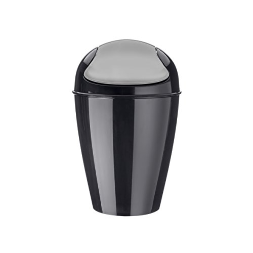 koziol poubelle à couvercle bascule 5 l Del S, thermoplastique, noir, 21,6 x 21,6 x 37 cm