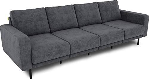 KAUTSCH Mette Viersitzer Sofa für Wohnzimmer zerlegbar - Couch 4-sitzer - Polstersofa groß - B 266 cm - ohne Longchair, grau-blau - mit Metallfüße