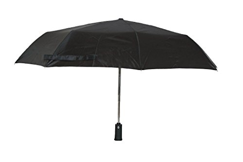 Umbrella with Flashlight Handle and Auto Open and Close Feature (black)