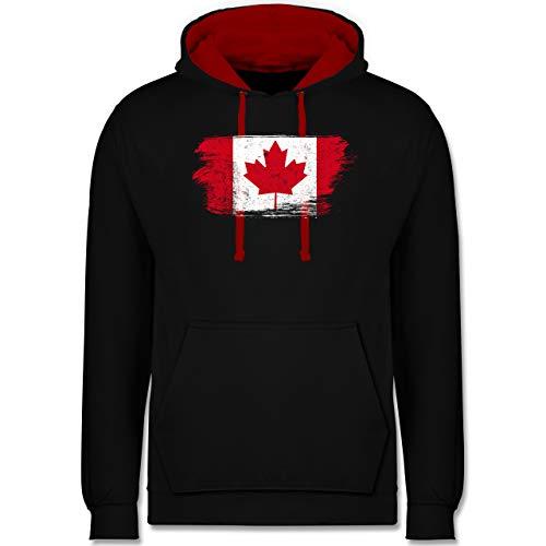 Shirtracer Länder Fahnen und Flaggen - Kanada Vintage - L - Schwarz/Rot - Kanada - JH003 - Hoodie zweifarbig und Kapuzenpullover für Herren und Damen