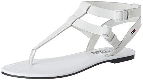 Tommy Jeans Damen Flat Geschlossene Sandalen, Weiß (White Ybs), 42 EU