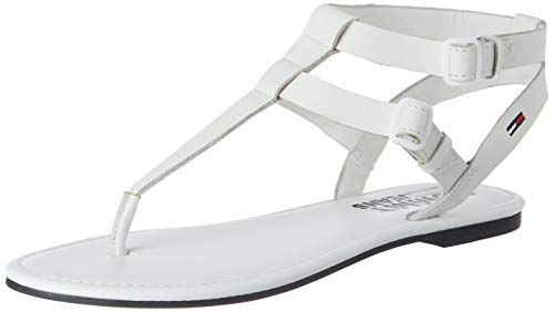 Tommy Hilfiger Tommy Jeans Flat Sandal, Sandalias Punta Cerrada Mujer, Blanco (White Ybs), 37 EU