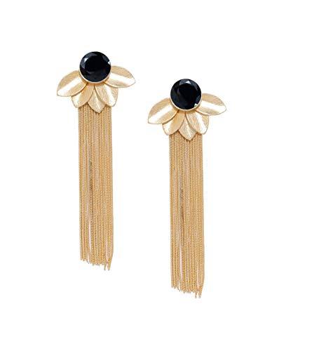 Espinilla negra Flor de loto dorada Yoga Pendientes de cadena de borla colgantes hechos a mano