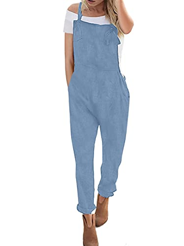 ACHIOOWA Latzhose Hellblau Damen Jumpsuit Denim Jeans Retro Overalls Sommer Lose Hose Hellblau XL