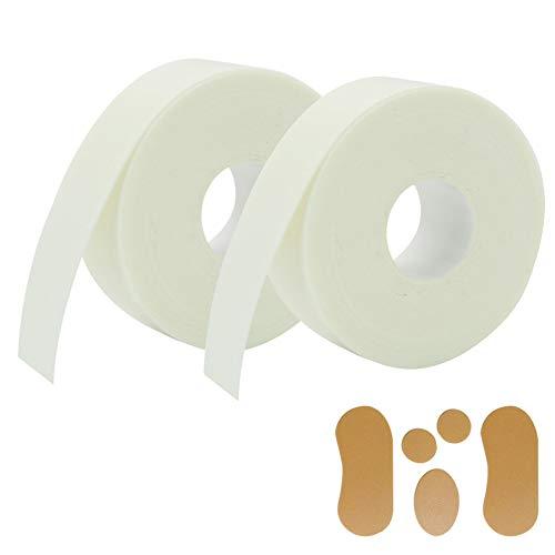 Zhongtou 2 Rolle Blasenpflaster Selbstklebend Wasserfeste Pflaster Flexibel Schaum Fingertapefür Schutz von Fersen Knöcheln Handgelenken Fingern Knien und 5 Stück Hornhautpflaster 2.5cm*5m