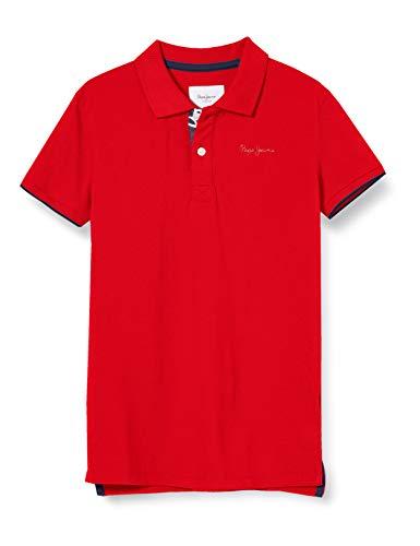 Pepe Jeans Thor JR Polo, Rojo (Mars Red 244), 12-13 años (Talla del Fabricante: 12) para Niños