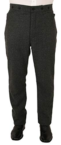 Historical Emporium Men's Herringbone Tweed Dress Trousers 44 Gray