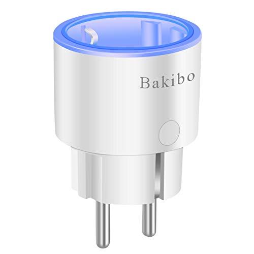 bakibo Enchufe Inteligente Wifi Compatible con Alexa Echo,Google Home y IFTTT, Inalámbrico Smart Mini Zócalo con Luz Nocturna, Control Remoto, Establecer Horario,Programa, Monitor Energía - 1 Pcs