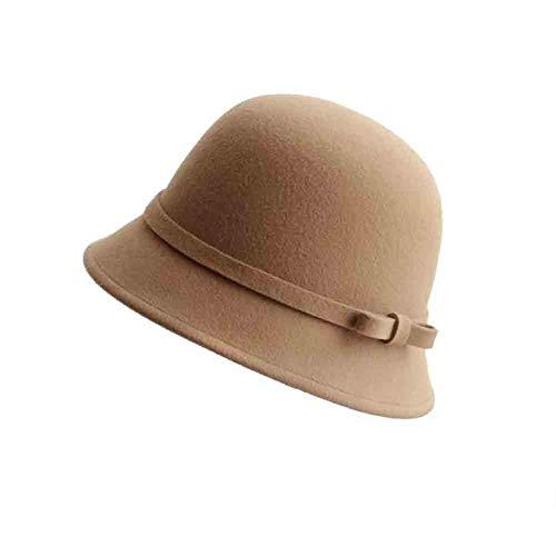 Sunny Vrouwen Cloche Vilt emmer hut lente en herfst winter Europa en Amerika Retro boog koepel Fischer hoed one_size kameel