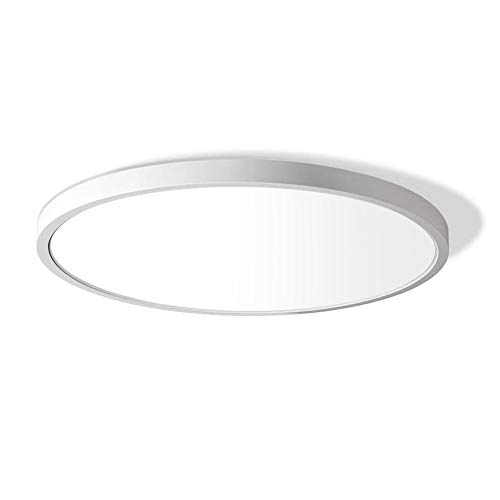 LED Flush Mount Ceiling Light Fixture, 5000K Daylight White, 3200LM, 12 Inch 24W, Flat Modern Round Lighting Fixture, 240W Equivalent White Ceiling Lamp for Kitchens, Stairwells, Bedrooms.etc.
