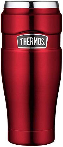 THERMOS Thermobecher Stainless King, Kaffeebecher to go Edelstahl rot 470ml, Isolierbecher spülmaschinenfest, dicht, 4002.248.047, Tea to Go 7 Stunden heiß, 18 Stunden kalt, BPA-Free