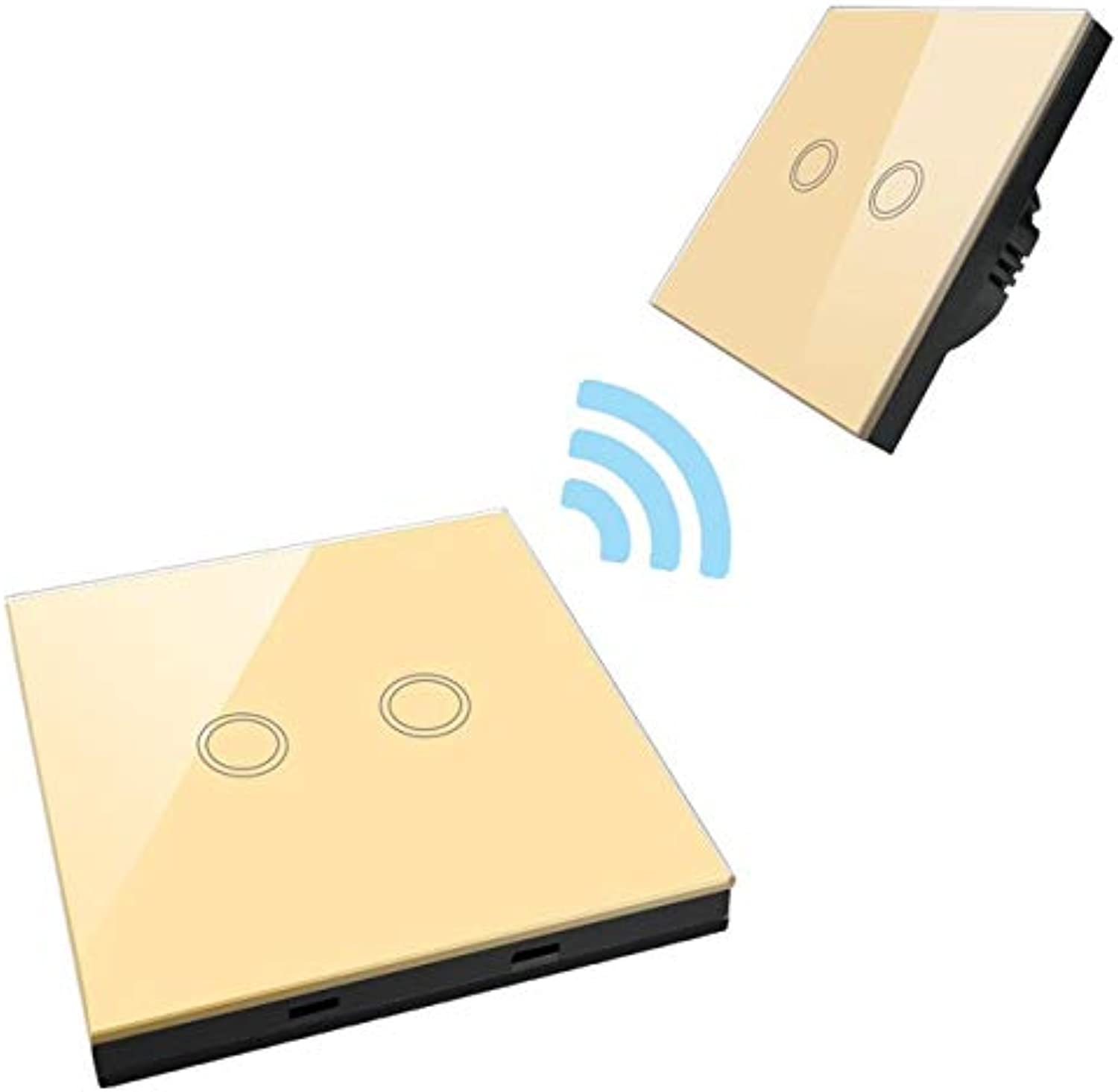 EU UK Wireless Remote Control Switch,Smart Touch Switch gold 1 2 3 Gang 1 Way Wireless RF433 Mhz Indoor Light Lamp Switch  (color  2 Gang Set)