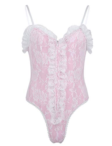 Freebily Herren Body Sissy Spitze Dessous Spaghetti-Täger Lingerie Bodysuit Overall Sringbody Babydoll Crossdresser Kostüm Erotik Unterwäsche Rosa X-Large