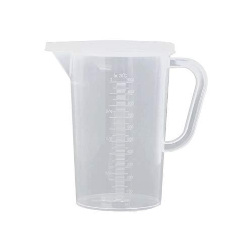 Jarra medidora de plástico transparente graduada, jarra de agua, jarra de agua fría, recipiente para medir jugo de cerveza, para hornear, postre, helado, juego de 2 unidades (tamaño: 2 L)