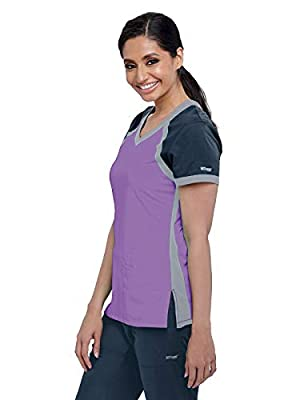 Grey's Anatomy Active 41435 Women's Tri-Color V-Neck Scrub Top
