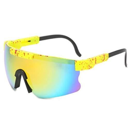 Nsdsb Gafas De Ciclismo con Montura Grande, Gafas De Sol para Bicicleta, Gafas Uv400, Amarillo + Amarillo
