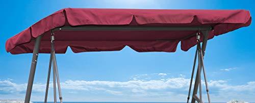 QUICK STAR Ersatzdach 200x145cm Gartenschaukel Universal Hollywoodschaukel 3 Sitzer Bordeaux UV 50 Ersatz Bezug Sonnendach Schaukel Dach