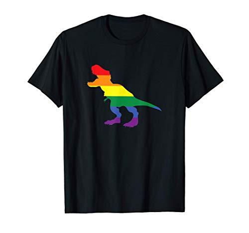 Funny Gay Dino Dinosaur Lover LGBT Pride Rainbow Flag Tシャツ