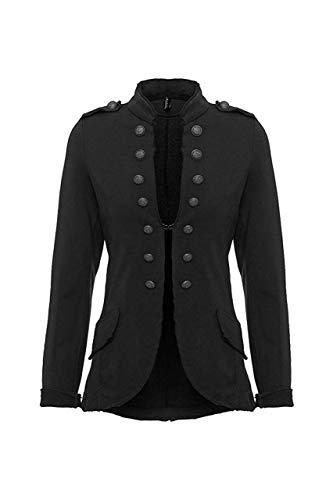 Eitex Damen Blazer Damenjacke Military Knöpfe Gr- 34/36 bis 48/50 Military Army Style Uniform Mantel mit Military Knopfleiste Lang und kurz Slim Fit (kurz schwarz, 48/50)