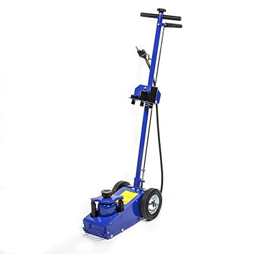 Stark 22 Ton Hydraulic Floor Jack Air-Operated Axle Bottle Jack with (4) Extension Saddle Set Built-in Wheels, Blue