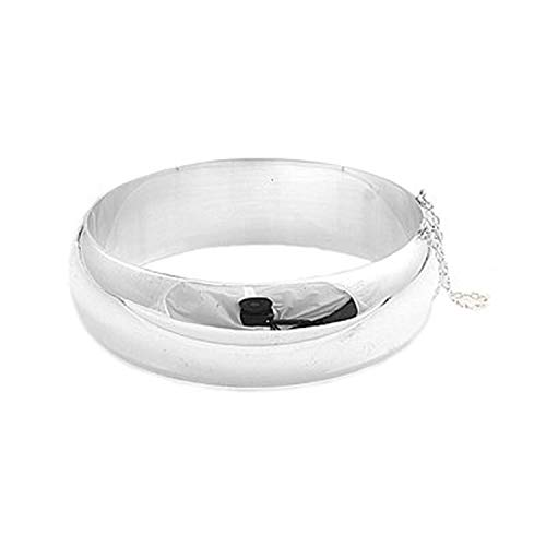 20MM Wide Round Polished Half Dome Hinged Bangle Bracelet for Women/Teenager/Girls With Safety Chain - 925 Sterling Silver - Diameter: 65mm