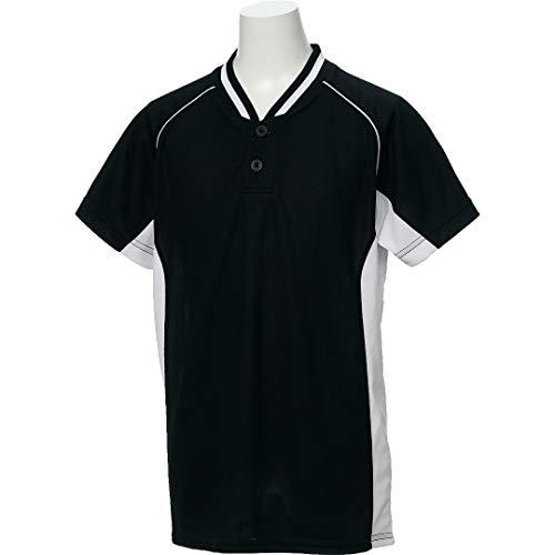 アシックス(asics) 野球 ウェア ジュニア ベースボール シャツ 半袖 2ボタン BAD20J 130サイズ ブラック/ホワイト BAD20J ブラック/ホワイト 130