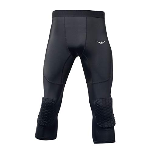 READY PARD Compression Pants Knee Pads Tights: Capri Leggings Mens Protector for Basketball