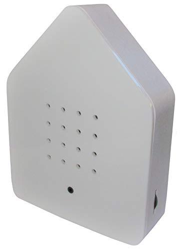 Zwitscherbox - Bewegungsmelder löst Vogelgezwitscher aus. Entspannend, erfrischend. Designobjekt 11 x 15 cm weiß