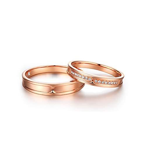 KnSam Anillo Oro Rosa de 18K, Redondo Anillo Solitario con Diamante Blanco 0.11ct, Mujer Talla 11 y Hombre Talla 21 (Precio por 2 Anillos)