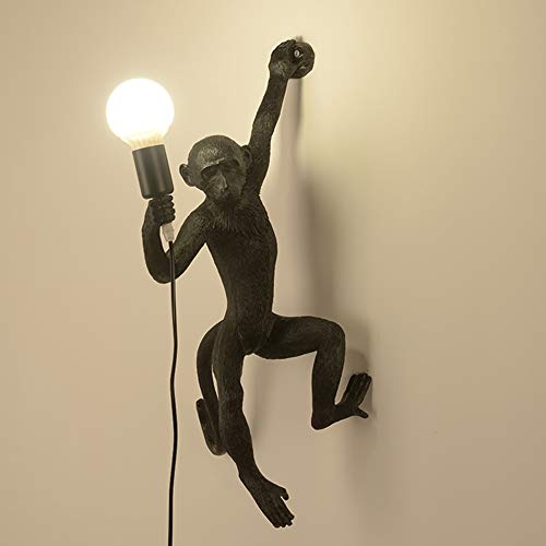 Personalità Creativa Lampada Da Parete in Stile Retrò Industriale Cafe Bar Lampada Da Parete Soggiorno Lampada Camera Da Letto Lampada Ristorante Lampada Da Parete A Forma Di Scimmia E27,Nero