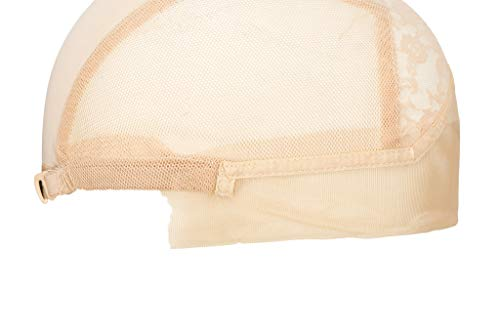 Chrontier Swiss Lace Mesh Front Full Wig Cap Net DIY Wigs Making Hair Extensions Hairpieces Weft Weaving Sewing Base Foundation Hairnets Elastic Adjustable Straps Hook Men Women Snood Toupee Beige,M
