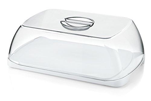 Doppia funzione della base: tagliere e vassoio Lavabile in lavastoviglie Coperchio trasparente preserva il contenuto Campana + vassoio