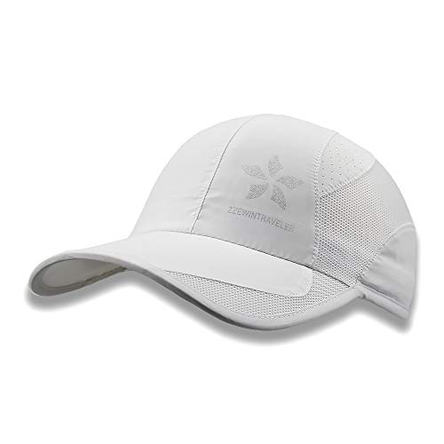 ZZEWINTRAVELER Quick Dry Cap Running Hats Lightweight Breathable Soft Adjustable Outdoor Sports Hat for Men, Women (White)