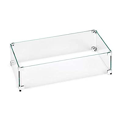 """American Fireglass Tempered Glass Flame Guard for 24"""" X 8"""" Drop-in Fire Pit Pan"""