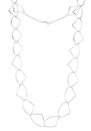 Leslii Damenkette Lange Silberne Halskette Modeschmuckkette glänzende Kette Gliederkette in Silber 90cm