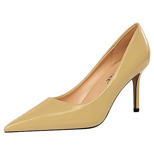 EveKitty Damen Mode Stiletto Ohne Verschluss Pumps Pointed Toe Schuhe Kleid Buro Arbeit Schuhe Apricot Size 41 Asiatisch
