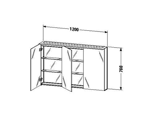 Duravit Spiegelschrank Happy D.2 138x1200x 760mm, 3 Türen, amerik.nussbaum, H2759601313
