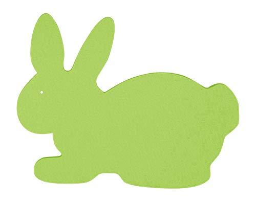 Filz-Untersetzer Hase sitzend Ostern 21x16cm – 2-Stück-Set. Erhältlich in 18 Farben | 3mm starker Polyester-Textilfilz waschbar Handarbeit (maigrün)