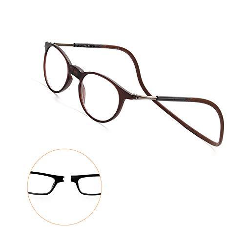 Y&J leesbril met telescopische hals, magnetisch, 2,00 titanium kunststof, goede metgezel, leesbril voor heren, TR90