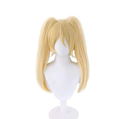 PWEINCY Golden Hiyoko Saionji Cosplay peluca con cola de caballo larga para mujer disfraz de Halloween