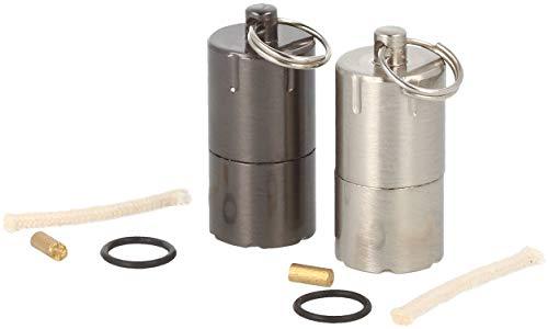 com-four® 2X Mini Feuerzeug für Camping, Outdoor und als Schlüsselanhänger - nachfüllbares Benzinfeuerzeug mit Schlüsselring und Ersatz-Material