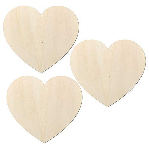 Kleenes Traumhandel Joli cœur en bois de type 2 - Forme de cœur - Idéal comme décoration de mariage - Pour mur et porte - Lot de 3 - 112 x 100 mm