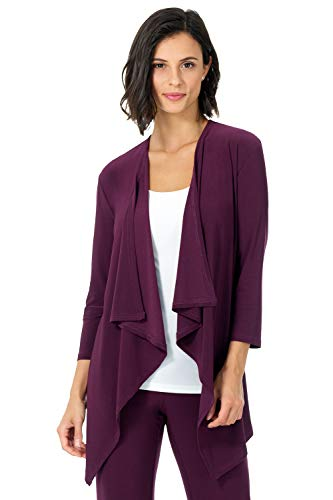 Rekucci Travel in Style - Women's Essential Fluid Throw Over Jacket (XX-Large,Wine)