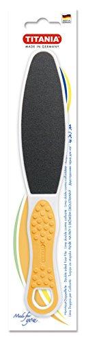 TITANIA Hornhaut-Doppelfußfeile mit Softtouch-Einlage, Farbig Sortiert, Rauer und Feiner Schmirgel, 1er Pack (1 x 43 g)