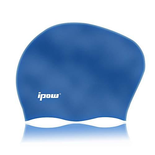 IPOW Cuffia da Nuoto Cuffia Piscina in Silicone di Alta qualità atossico Particelle Antiscivolo Proteggi i Capelli Adatto Perfetto per Capelli Lunghi per Uomo e Donna, (Blu)